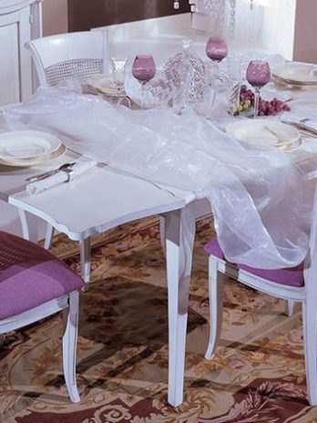White French style table 2 extensions 40 cm