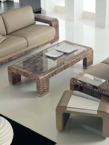 Sofa set from Italian manufacturer. Upholstery – textiles – leather