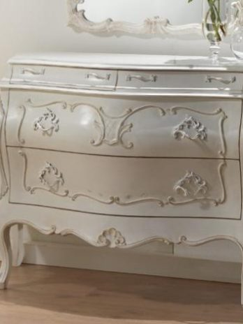 Contemporary French style white chest of drawers