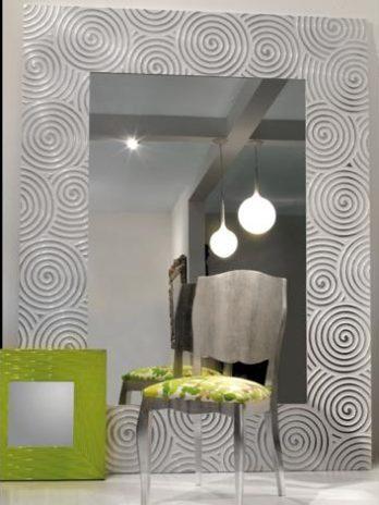 Italian Design mirror frame lacca white and silver