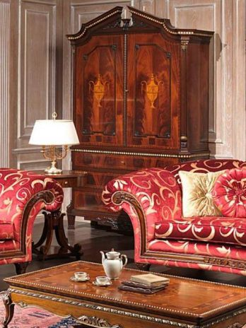 Classic living room in red and gold fabric version