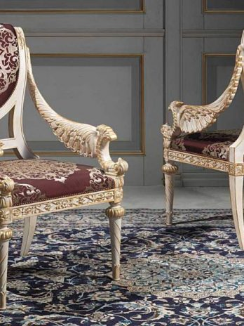 Chairs richly carved by hand in Louis XVI style
