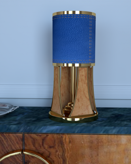 MODERN DESIGN TABLE LAMP WITH A GEOMETRIC PATTERN BASE
