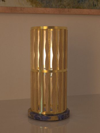 Industrial table lamp – Design Table Lamp wood and gold leaf