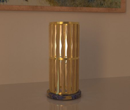 Industrial table lamp - Design Table Lamp wood and gold leaf